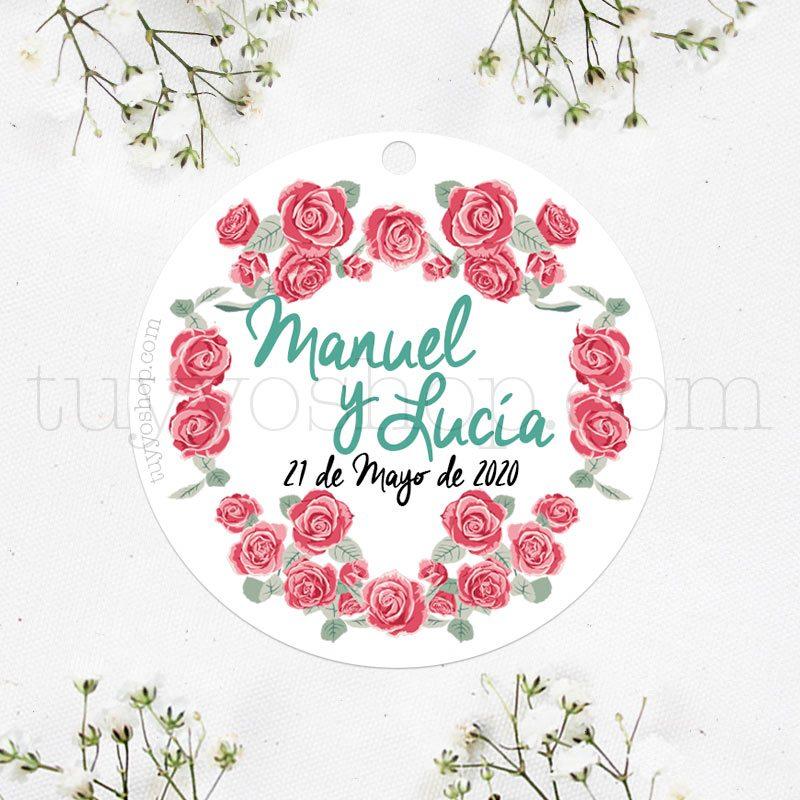 Etiqueta para personalizar los detalles de boda. Modelo rosas.