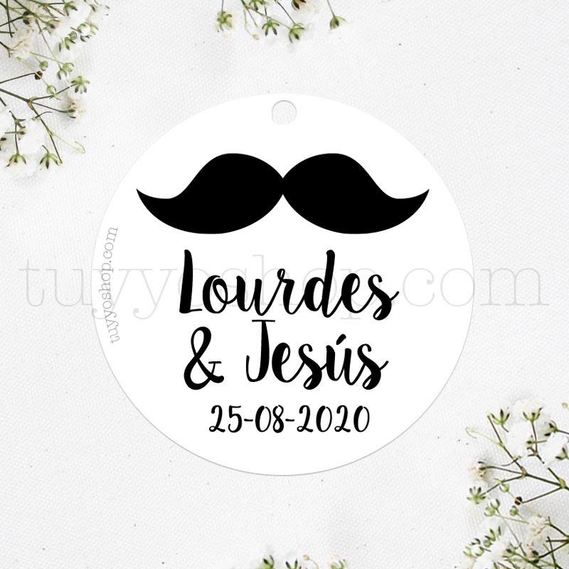 Etiqueta para los detalles de boda de los hombres. Diseño moustache.