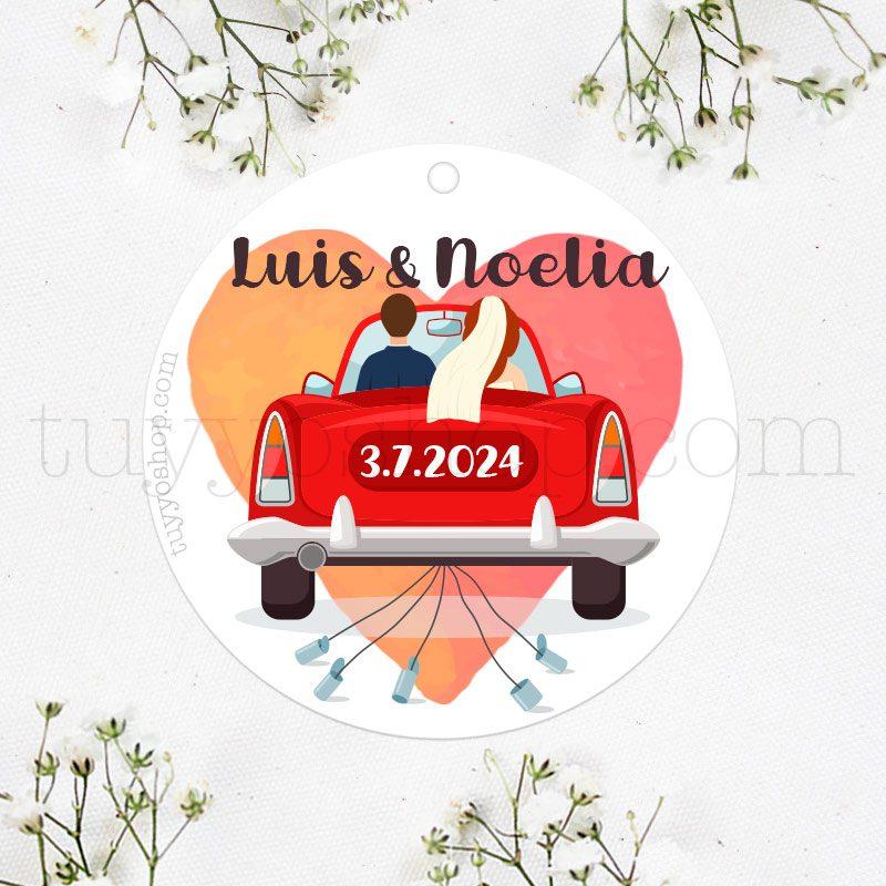 Etiqueta de boda Novios en coche
