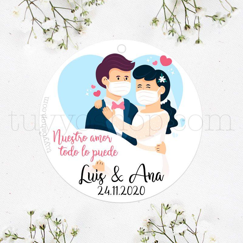 Etiqueta de boda Nuestro amor todo lo puede