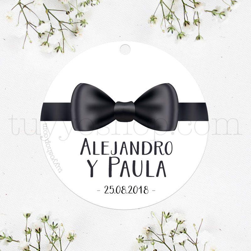 Etiqueta para boda, modelo pajarita negra