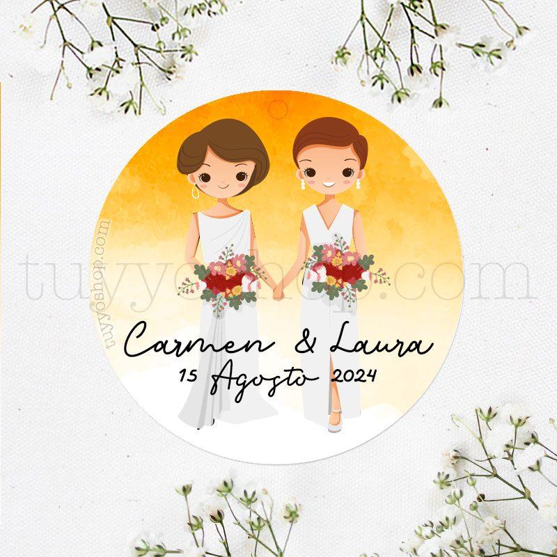 Etiqueta de boda Pareja de Novias