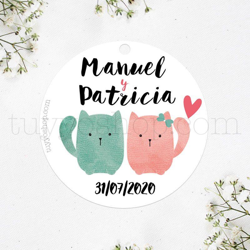 Bonita etiqueta para boda inspirada en gatitos de colores.