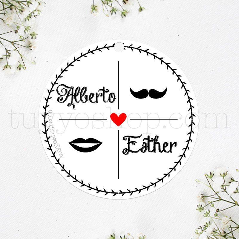 etiqueta para boda kiss moustache que puedes personalizar con tu nombre