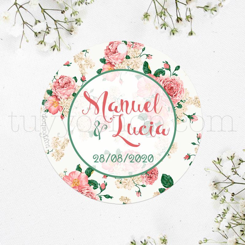 Bonita etiqueta para los regalos de boda, modelo vintage floral