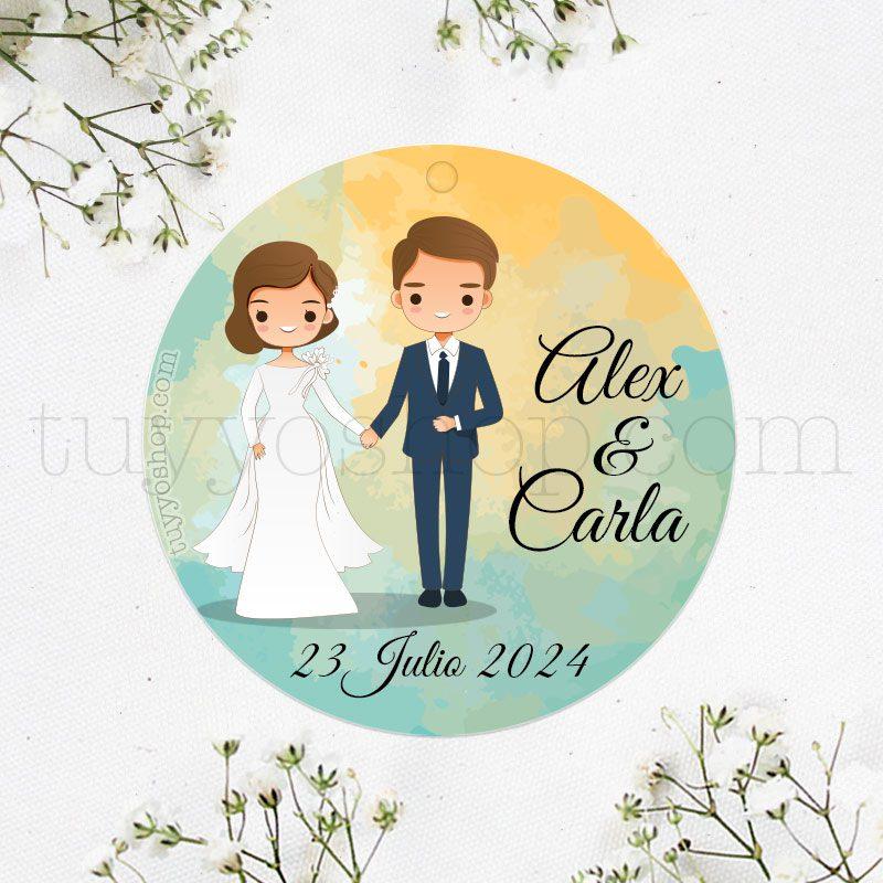 Etiqueta de boda Vivan los Novios