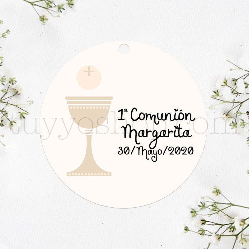 Etiqueta para comunión diseño cáliz