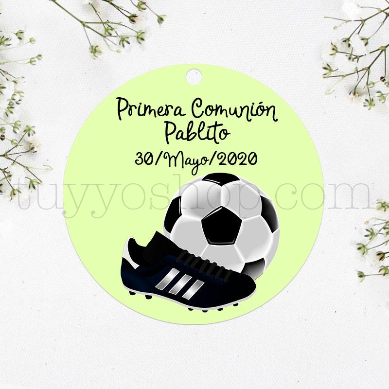 Etiqueta de comunión, diseño fútbol