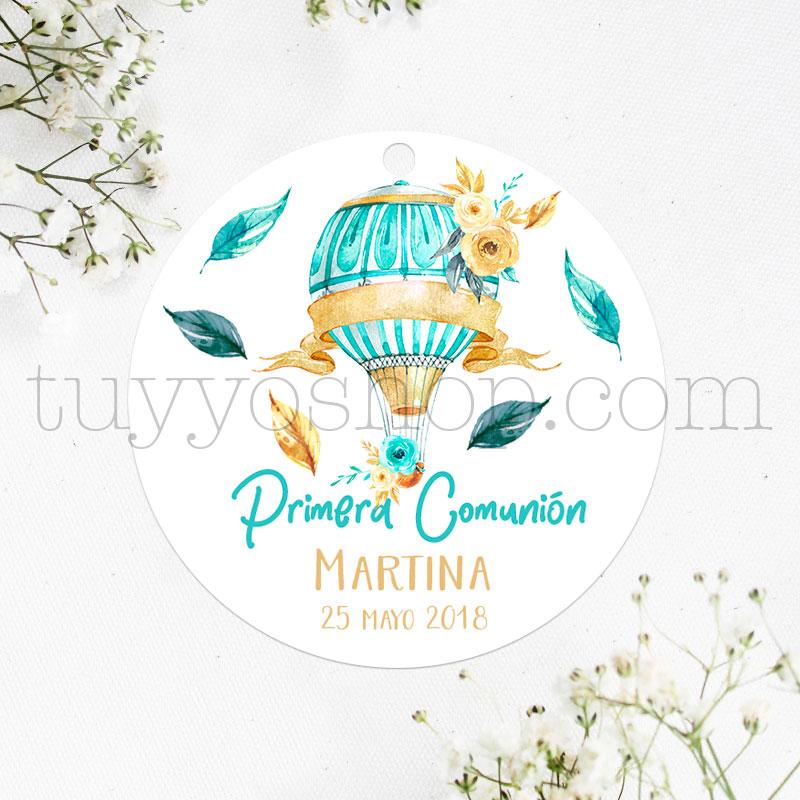 Etiqueta de comunión, diseño globo y flores