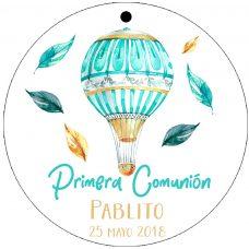etiqueta de comunión, modelo globo y hojas
