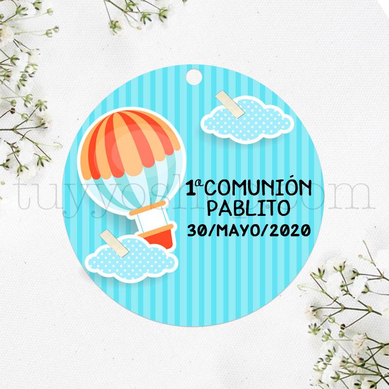 Etiqueta para detalles de comunión diseño globo