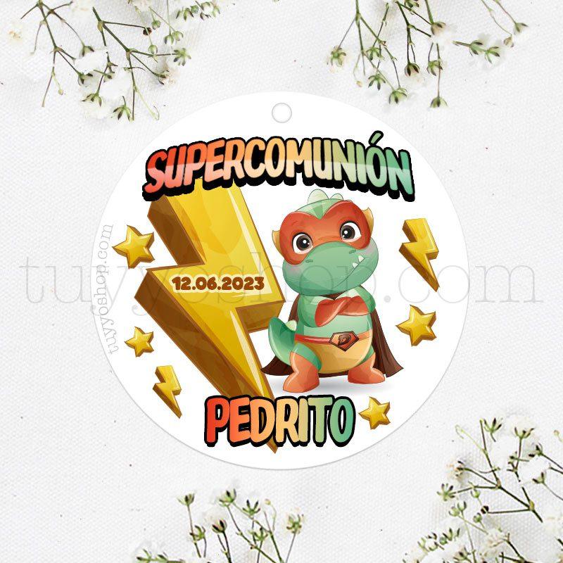 Etiqueta de comunión SuperDinosaurio.