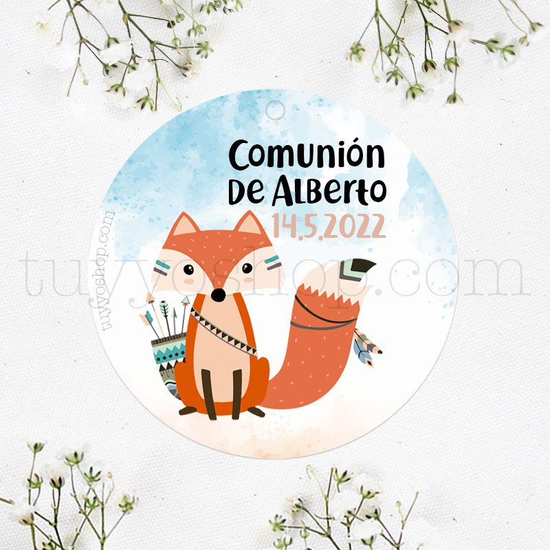 Etiqueta de comunión Zorrito Boho