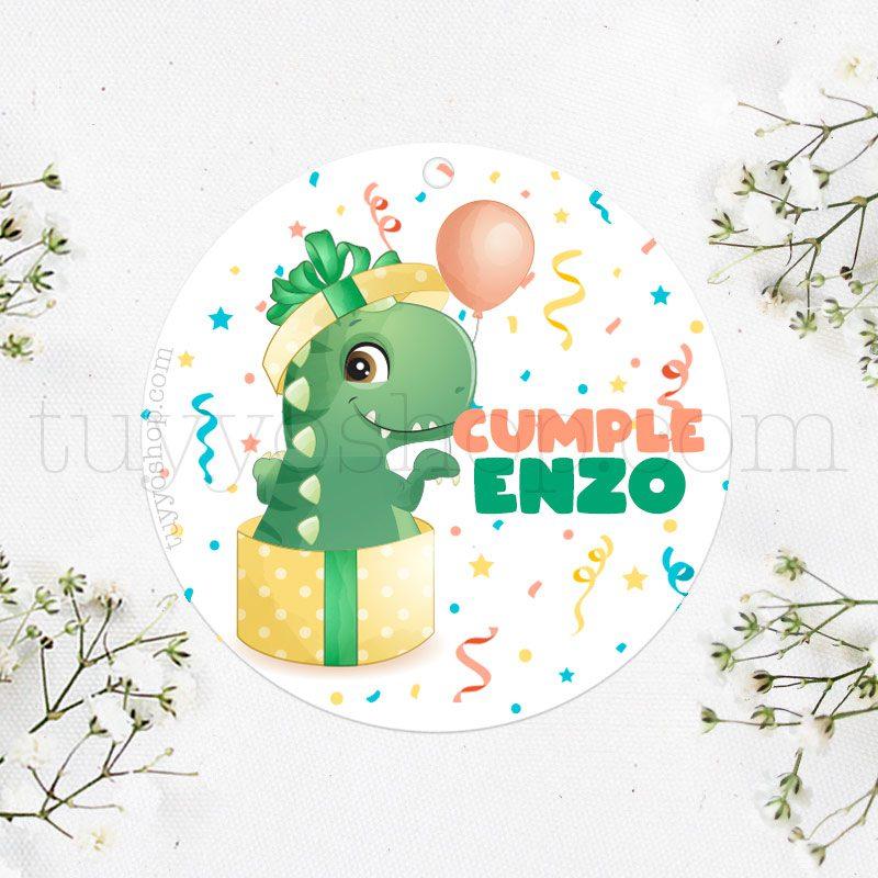 Etiqueta de cumpleaños Caja regalo Dino