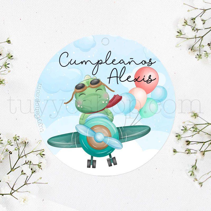 Etiqueta de cumpleaños Dinosaurio volando en avión