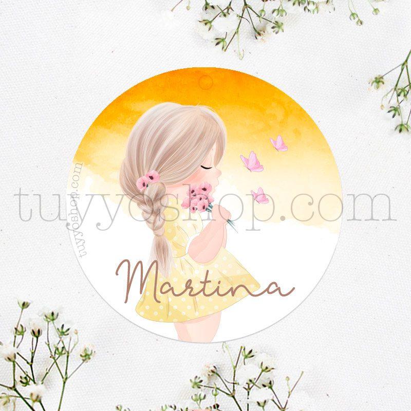 Etiqueta de cumpleaños Martina