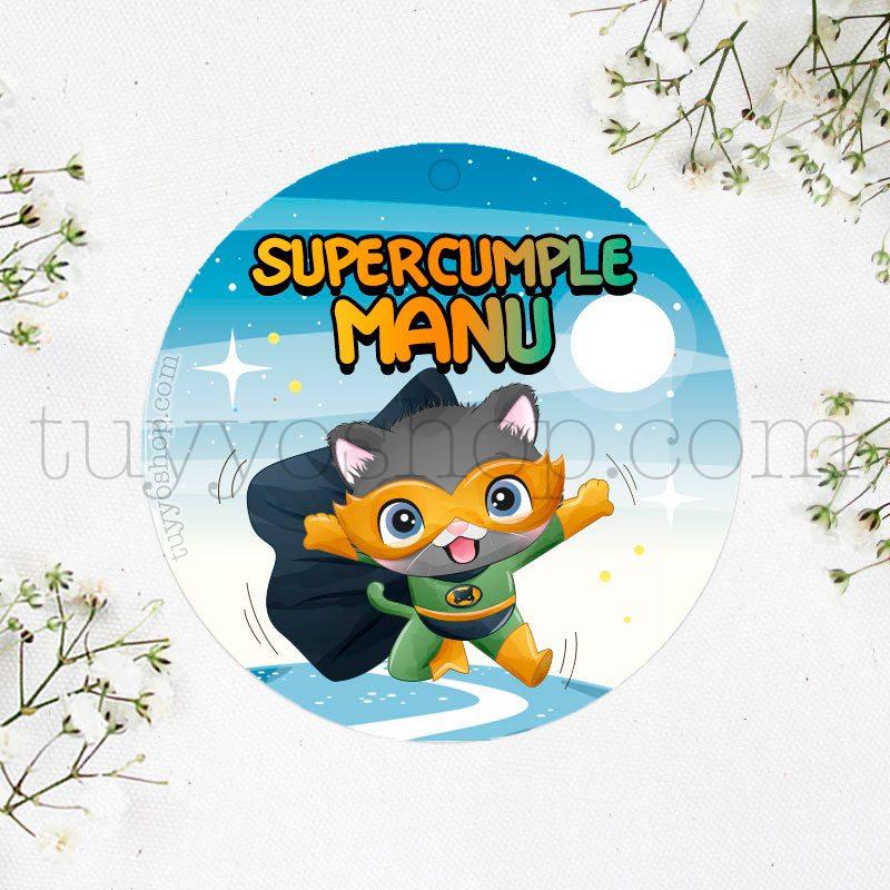 Etiqueta de Cumpleaños Supergato