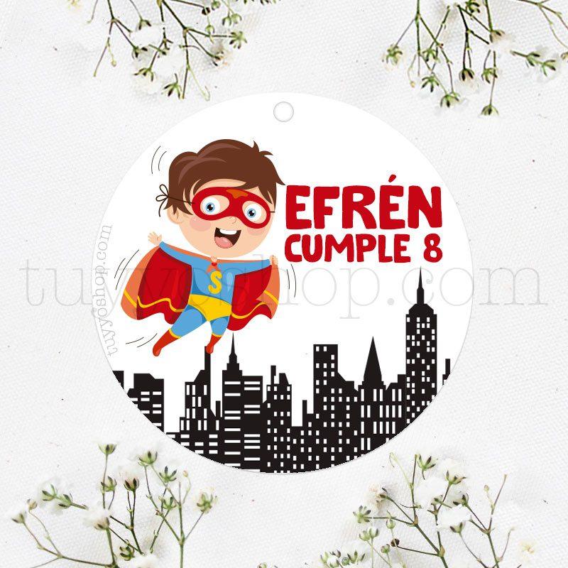 Etiqueta de cumpleaños Superheroe