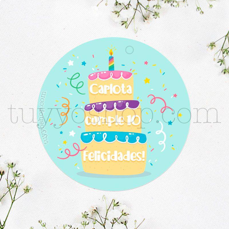 Etiqueta de cumpleaños Tarta