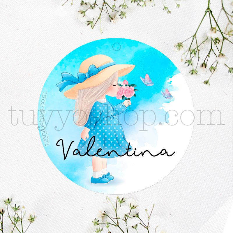 Etiqueta de cumpleaños Valentina