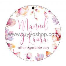 etiqueta para boda modelo magnolio