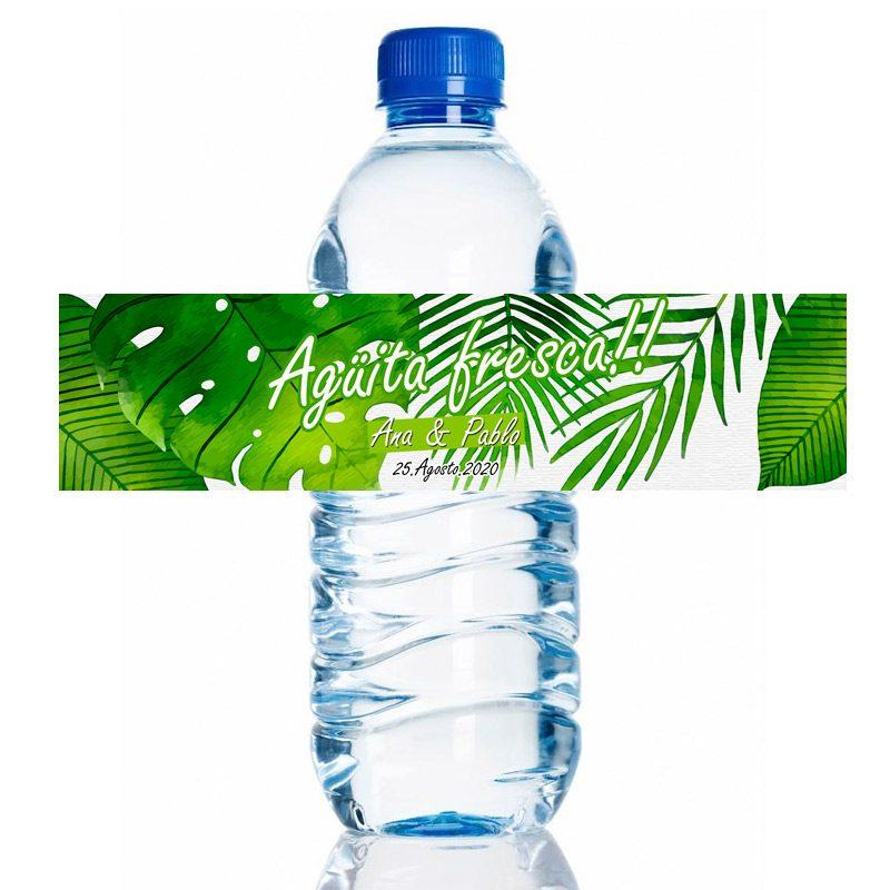 Etiqueta de boda adhesiva para botella de agua. Agüita fresca. 20x5cm