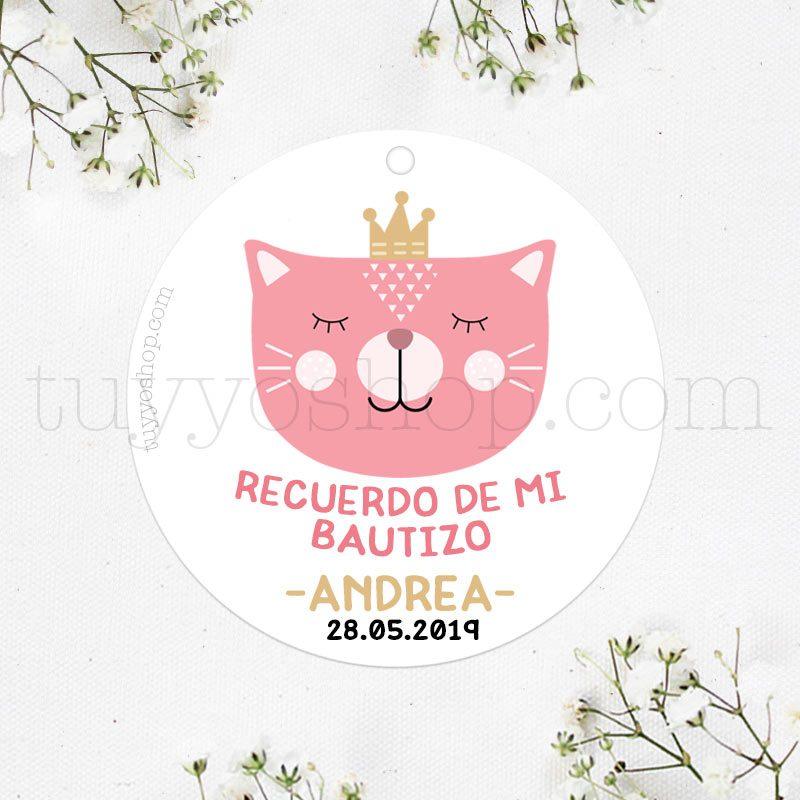 Etiquetas de bautizo. Modelo Cat Princess. Personalizable.