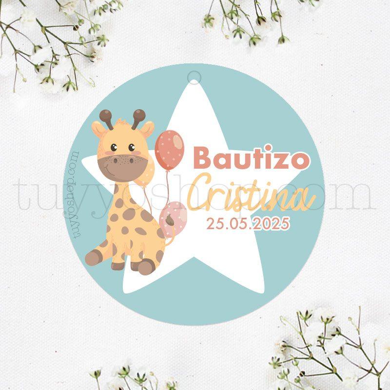 Etiqueta para bautizo, modelo jirafa etiqueta para bautizo modelo jirafa