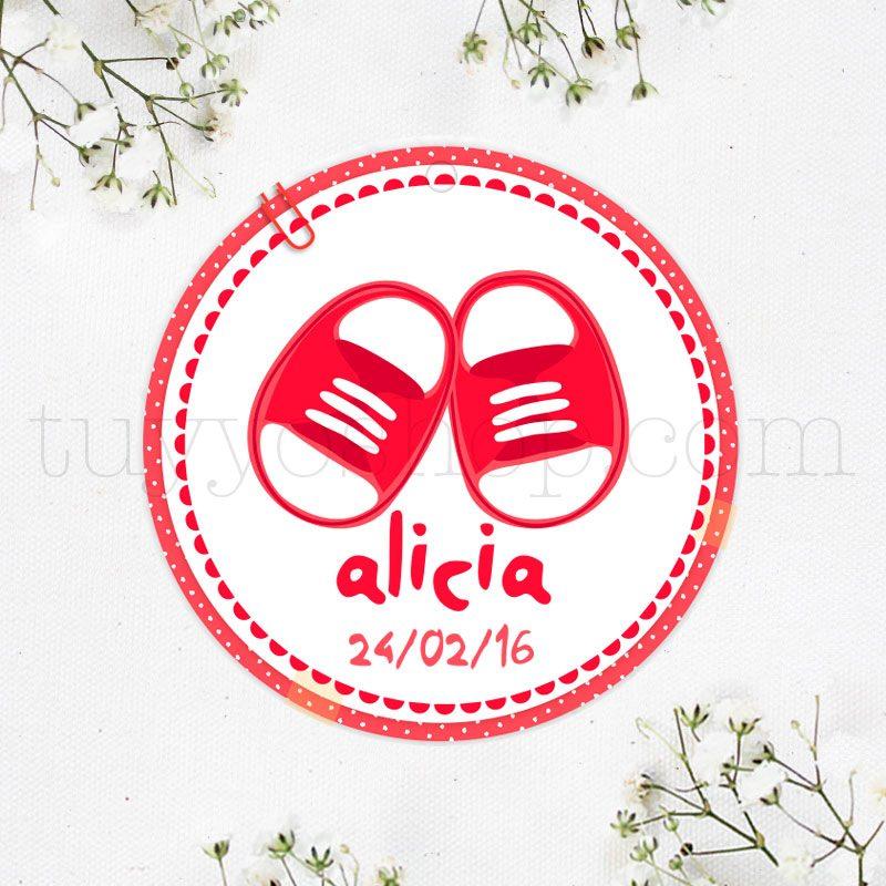 Etiqueta de bautizo, zapatitos etiqueta para bautizo modelo zapatos rojos