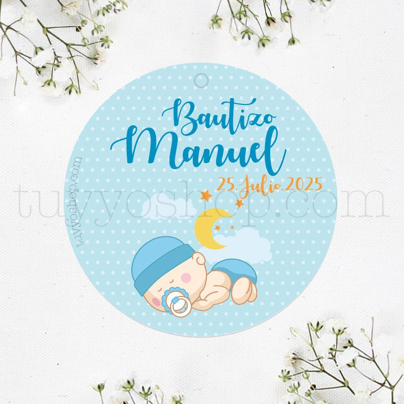 Etiqueta para bautizo, bebé durmiendo etiqueta para bautizo personalizada bebe