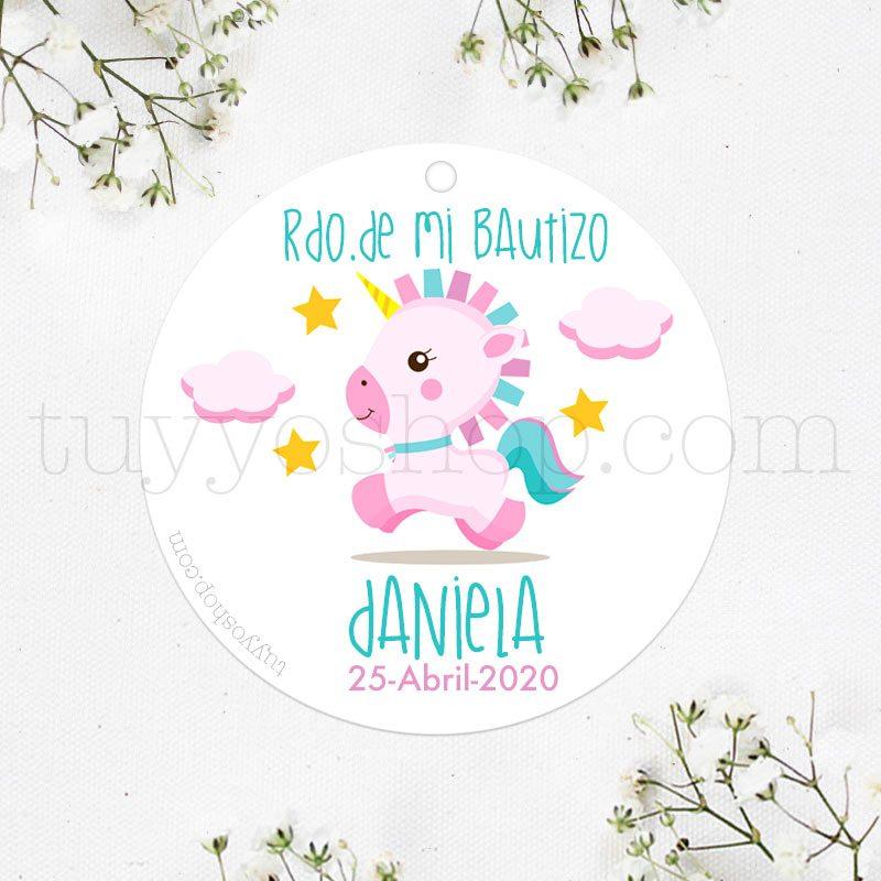 Etiquetas de bautizo. Modelo Pink Unicornio.