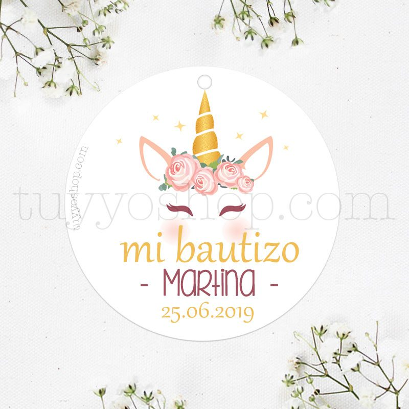Etiquetas de bautizo. Modelo Glitter Unicornio. Personalizable.