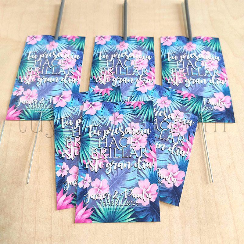 Etiqueta para bengalas de boda. Modelo Tropical etiqueta para bengalas modelo tropical 2