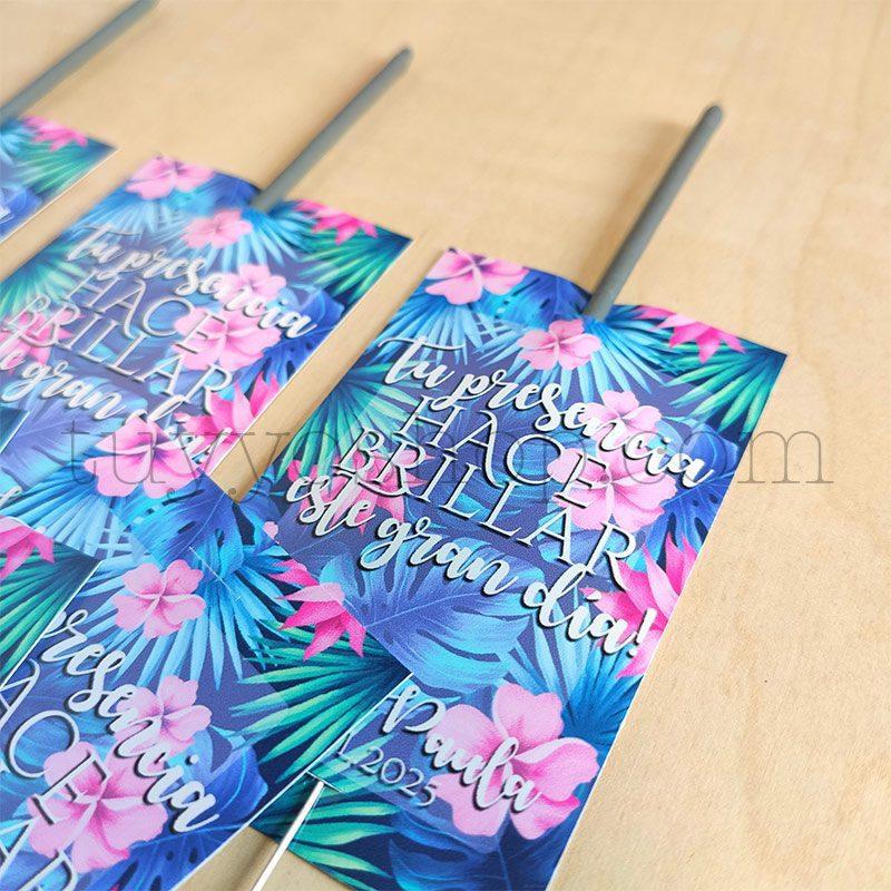 Etiqueta para bengalas de boda. Modelo Tropical etiqueta para bengalas modelo tropical 3