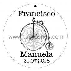 etiqueta para boda modelo bicicleta años 20