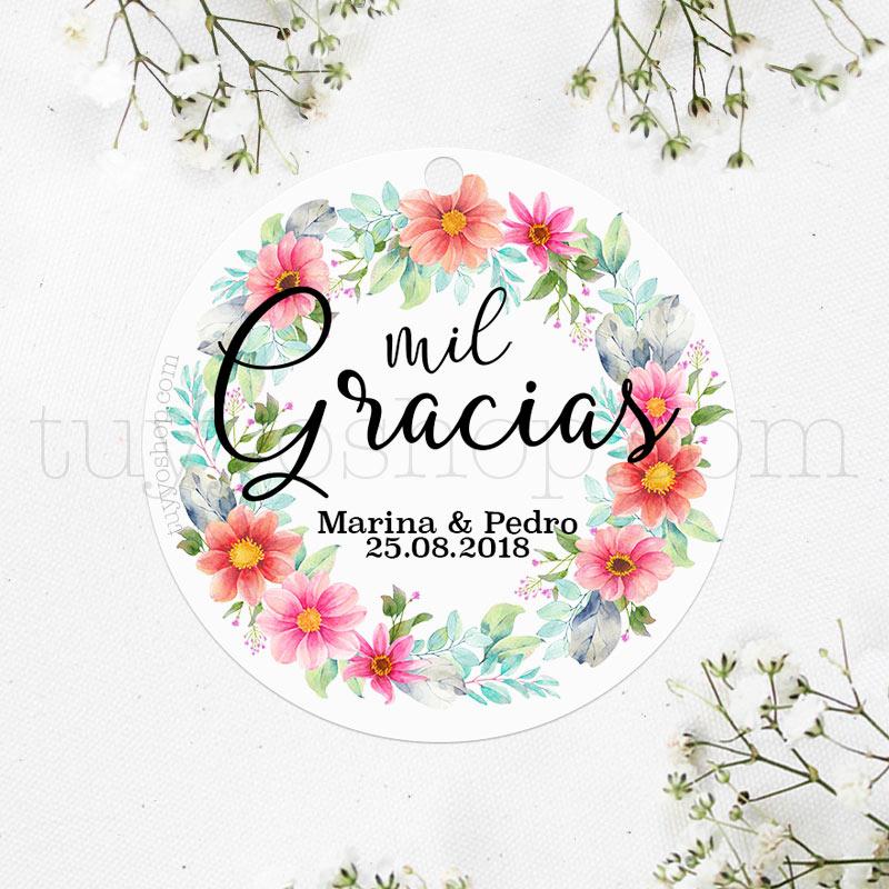Etiqueta de boda modelo mil gracias Etiquetas para detalles de boda, etiquetas para regalos