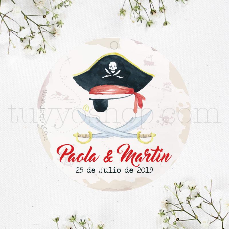 Etiqueta para detalle de boda. Modelo Pirata