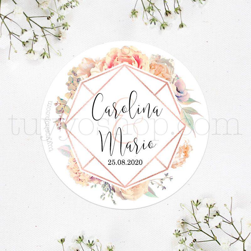 Etiqueta para detalles de boda. Modelo Romantic