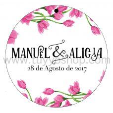 etiqueta para boda modelo rosé
