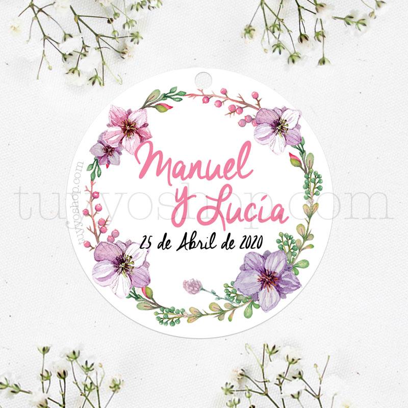Bonita etiqueta para tus detalles de boda, la puedes personalizar con vuestro nombre y fecha.