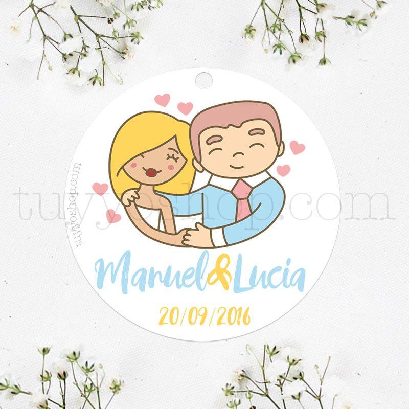 Etiqueta para boda con un diseño de una pareja que realmente se quiere.