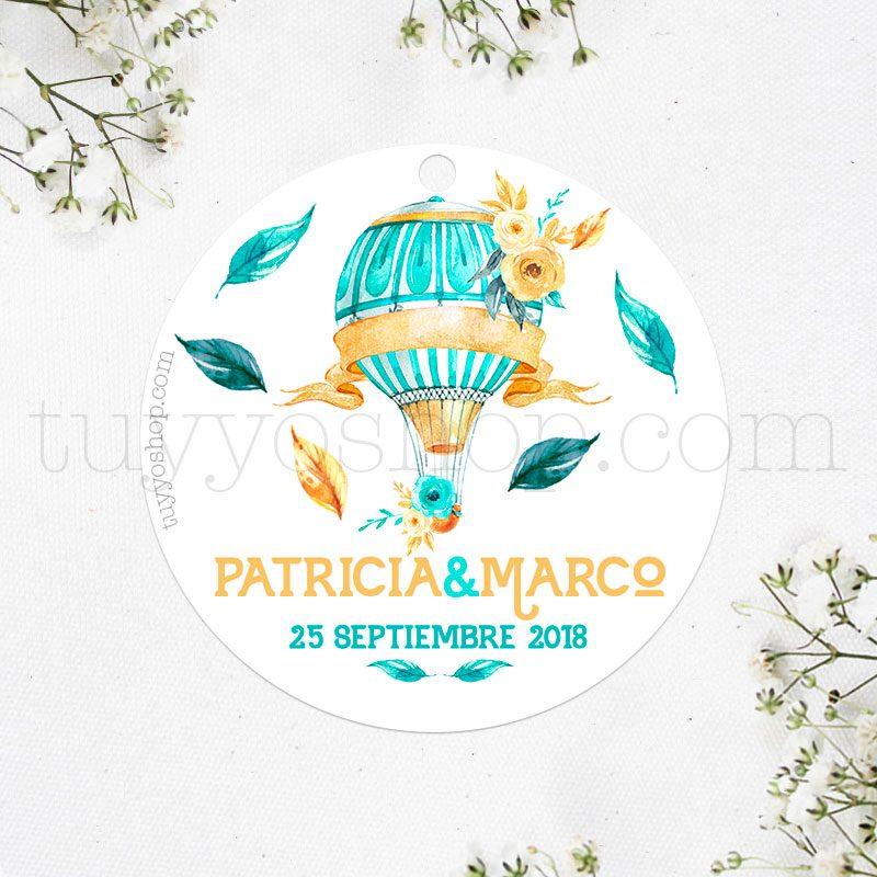 Etiqueta de boda modelo globo y flores