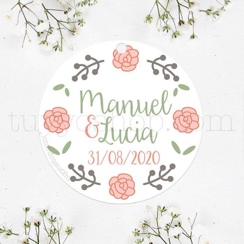 Etiqueta para boda diseño cuatro rosas
