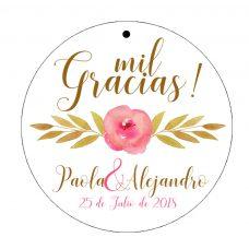 etiqueta para regalos de boda, modelo rosa