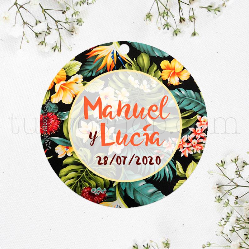 Etiqueta inspirada en diseños de flores tropicales. Puedes personalizarla a tu gusto.