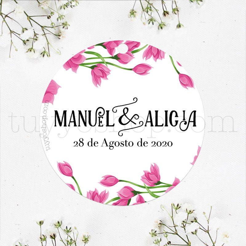 Bonita etiqueta para boda modelo rosé. Personalízala con vuestro nombre y fecha.