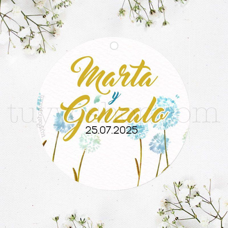Etiqueta para boda diseño diente de león etiqueta personalizada boda diente leon