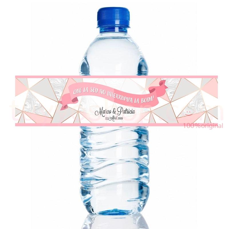 Etiqueta personalizada para botella de agua. Modelo Pink. 20x5cm