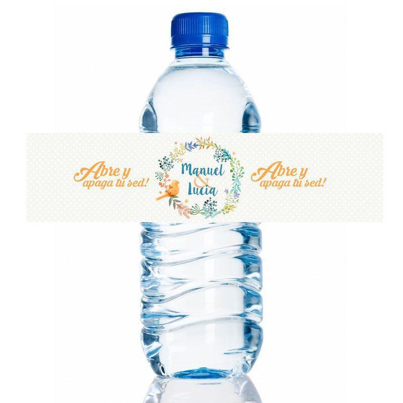 Etiqueta adhesiva para botella de agua. Primavera. 20x5cm