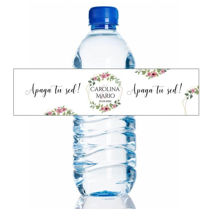 Etiqueta personalizada para botella de agua. Modelo Valencia. 20x5cm